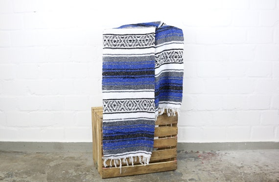 Solidly woven Navajo blanket from Mexico Sarape 180 x 70 cm Blue Yogadecke picnic blanket Beach blanket Summer blanket picnic beach Life Blue