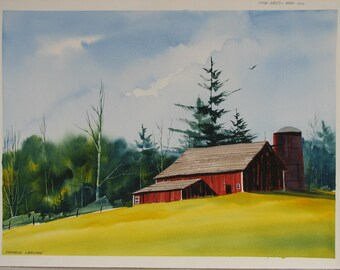 Rustic red barn painting, old red barn artwork, vibrant watercolor painting, barn and silo painting, signed original artwork, #226