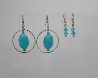 Set Silver & Gold Aqua Blue Beads