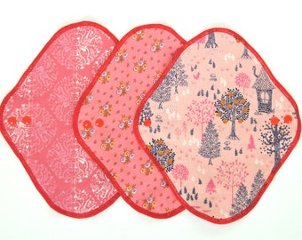 Set of 3  Cloth Menstrual Pad 7.5inch 10inch Pink apple tree/little flowers/Pink dancing girl/  Cotton flannel and hemp absorbent pad