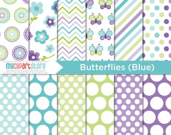 Digital Paper - Mother's Day, Blue Butterflies, Scrapbook Paper, Digital Pattern, Commercial Use, JPEG, PDF