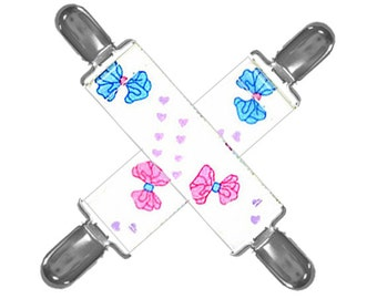 MITTEN CLIPS - Bows & Hearts - Plastic Insert Clips - Set of 2