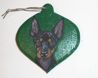 English Toy Terrier Dog Custom Painted Christmas Ornament Decoration