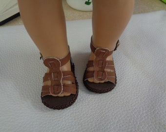 "Brown Sandals-- for 18"" Dolls--Shown on my American Girl Doll"
