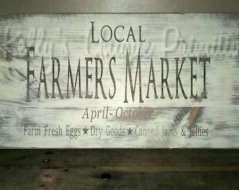 Local Farmers Market Farmhouse Sign Country Wooden Sign Wall Decor Kitchen Decor Farmhouse Decor Country Decor Rustic