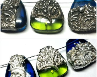 Extra Large Glass BEAD w/ Decorative Tinwork - Choose Color (red, green, blue or yellow) / Style / Metal Finish - 1 BEAD #RBB