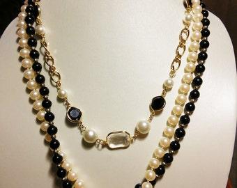 Black & White Multi Strand Necklace