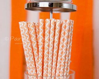 Coral Straws Damask, Wedding Straws Orange Damask Paper Straws Coral Shower Straws, Coral Party Straws,