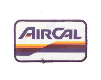 """Vintage AirCal Defunct Airline Plane Passenger Jet Airplane Embroidered Patch 2.75"""" x 4.75"""""""