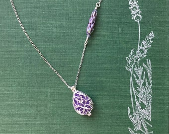 Lavender Glass Bead Aromtherapy Diffuser Locket Pendant in Gift Box with Organic Lavender Sachet Buds