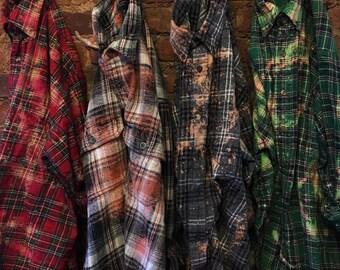 Wholesale Vintage Flannel, Bulk Order Vintage Flannel, Bleached Flannel, Grunge Flannel, Distressed Flannel,