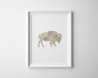 Buffalo Printable | Bison Art Print | Rustic Wall Decor | Buffalo Wall Art | Wood Print
