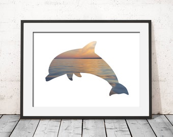 Dolphin Sunset Water Ocean Silhouette Poster Art Print Wall Art Modern Home Decor Print Instant Download Illustration Printable Photo Art