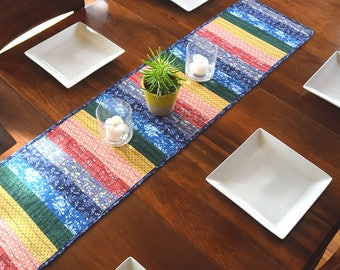 Quilted rainbow table runner • rainbow quilt • patchwork • cotton quilted • ROYGBIV •