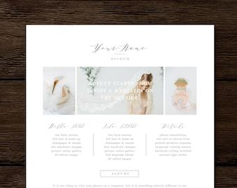 Price List Template - Boudoir Photography Marketing Sheet - Digital Pricing Guide - Aspen