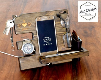 Present for him, Husband gift, wooden phone stand, docking station, desk organizer, anniversary gift, Fathers gift, Men birthday
