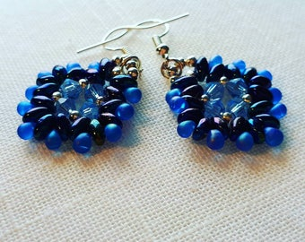 Beautiful earrings in different shades of blue