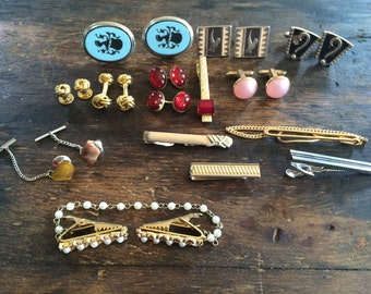 Lot of Vintage Men's Accessories / Eight (8) Cuff Links and Eight (8) Tie Clips & Tie Tacks / Mad Men