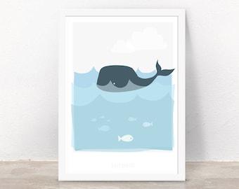 Reproduction d'Art pour enfants A4 - bébé baleine