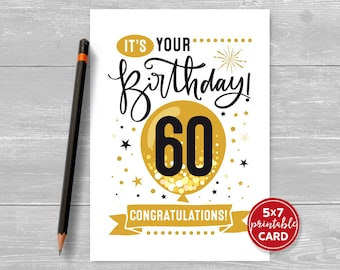 "Printable 60th Birthday Card - Congratulations Sixty Balloon Birthday Card - 5""x7"" plus printable envelope template. Instant Download."