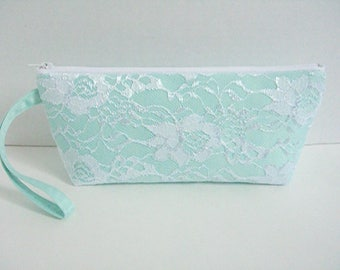 Mint Green Clutch - Mint Green Wristlet Clutch - Mint Green Wedding Clutch - Mint Green Bridesmaid Clutch - White Lace Clutch