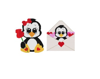 Plastic Canvas Valentine Penguins Set One Wall Hanging PDF FORMAT Instant Download