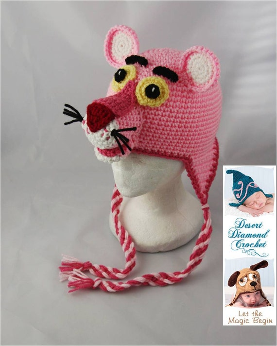 Crochet Pattern 048 - Pink Panther Beanie Hat - All Sizes