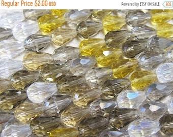 ON SALE Clearance Smoky Quartz Topaz and Black Diamond Tiara Teardrop Glass Crystal Mix 12mm x 8mm