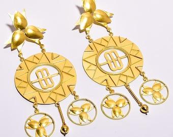 Brass Earrings Brass Hanging Earrings Gypsy Boho Tribal Earrings Designer Earrings