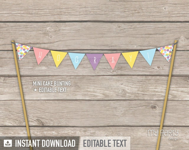 Confetti Party Cake Bunting Mini Banner Cake Topper