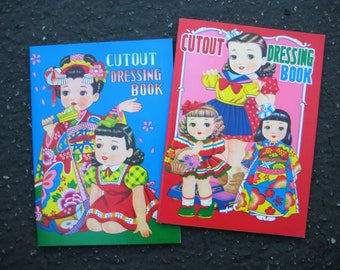 2 Vintage Japanese Cutout Dressing Books / Paper Dolls