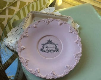 Chalk Painted Silver Plate - Pink Painted Plate - Annie Sloan Chalk Painted Plate