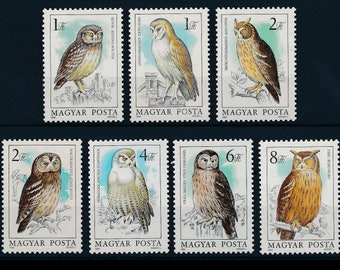 Gorgeous Owl Postage Stamps from Hungary - Birds to use in Collage, Arts and Crafts, Scrapbooking, Altered Books, ATCs