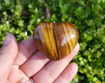 Tiger's Eye Heart, Crystal Heart, Crystal Carving, Tiger's Eye