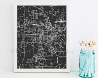 Mansfield Map Mansfield Art Mansfield Map Art Mansfield Print Mansfield Printable Mansfield City Art Ohio Art
