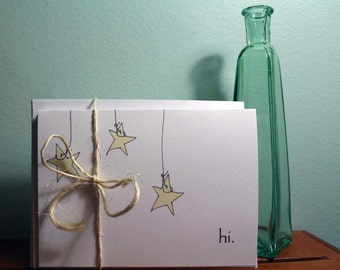 Personalized Stationery -- Hanging Stars no. 1 -- Set of Cards & Envelopes- CHOOSE your QUANTITY