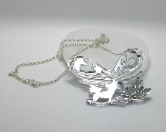 Mirror Fairy Bow Necklace Laser cut from mirrored acrylic From an original illustration by Emily M A Parkin