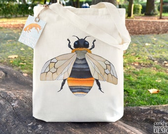 Bumble Bee Tote Bag, Ethically Produced Reusable Shopper Bag, Cotton Tote, Shopping Bag, Eco Tote Bag, Reusable Grocery Bag, Stocking Filler
