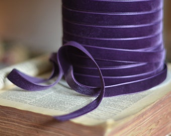 "purple plum eggplant 3/8"" velvet ribbon"