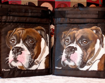 Lunch Bag with Custom Painted Portrait of your pet on the Black Nylon Insulated Lunch Bag
