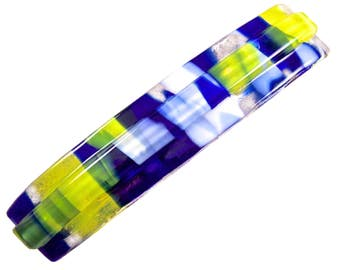 """1 Tiffany Glass Barrette - 3.5"""" 9cm - Circus Confetti with Blue White Yellow Accents on Clear Layered Strip"""