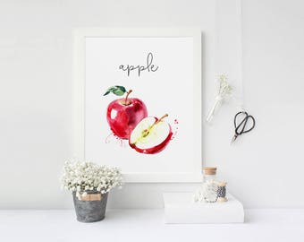 Food Painting, Apple, Kitchen Decor, Watercolor Print, Restaurant Decor, Kitchen Wall Art, Cook Printable, Fruits Printable, Veggies