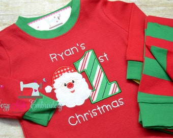 First Christmas pajamas, First Christmas Gown, boy girl child kid baby toddler infant custom personalized monogram name xmas pjs christmas