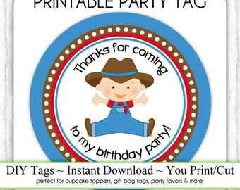 Instant Download - Baby Cowboy Printable Party Tag, Cowboy Party Cupcake Topper, DIY, Cowboy You Print, You Cut