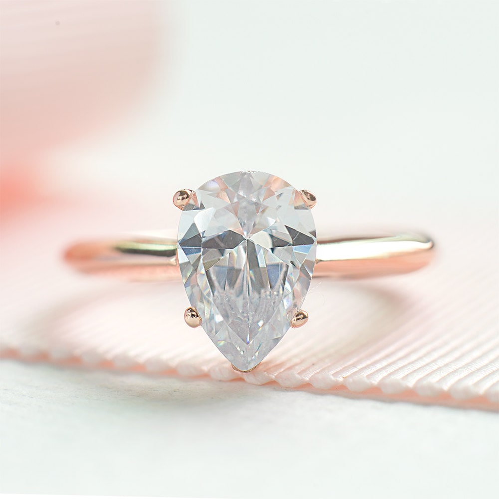 Pear Cut Engagement Ring Teardrop Proposed Ring Rose Gold