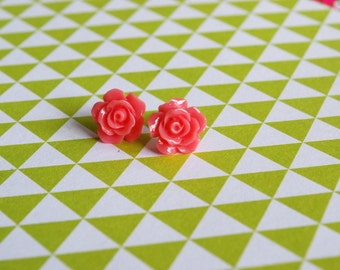 Pink Rose Earrings -- Rose Studs, Flower Studs, Flower Earrings, Pink Flower Earrings