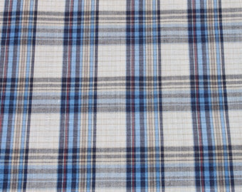 Vintage Blue Plaid Mens' Shirt Fabric, 70s 1970s Lightweight Polyester Cotton Blend, Retro Material Fabric, 3 yards