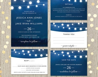 Blue wedding invitation set, night sky white cotton ball lights invite, save the date, details, thank you, rsvp, details card, DIGITAL