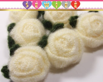 2pcs Ivory Floral Rose Pom Pom with Green Leaves|Fabric Pom Poms|Pompom Flower Roses Rosebud|Craft Supplies Accessories Sewing Necklace