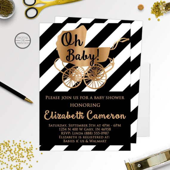 Black and white baby shower invitations black and gold baby like this item filmwisefo Images